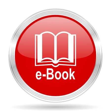 e book: book red glossy circle modern web icon on white background