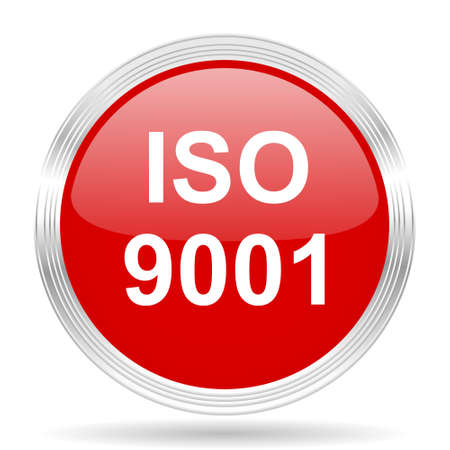 norm: iso 9001 red glossy circle modern web icon on white background