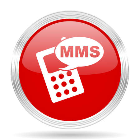 mms: mms red glossy circle modern web icon on white background