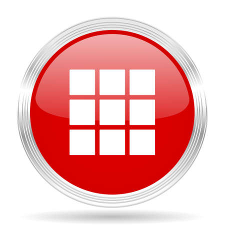 thumbnails: thumbnails grid red glossy circle modern web icon on white background Stock Photo