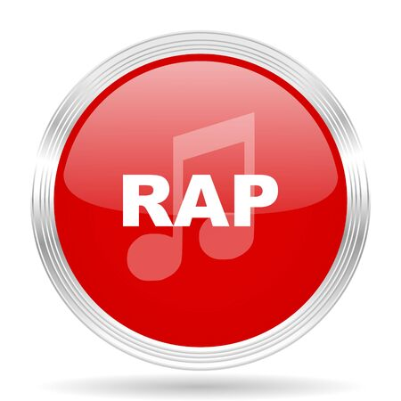 rap music: rap music red glossy circle modern web icon on white background Stock Photo