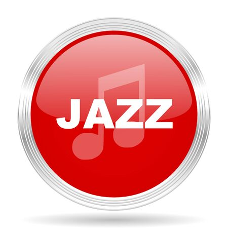genre: jazz music red glossy circle modern web icon on white background Stock Photo