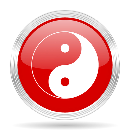 ying and yang: ying yang red glossy circle modern web icon on white background