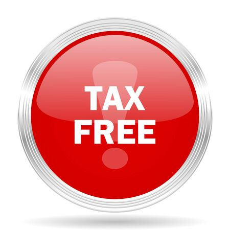 fiscal: tax free red glossy circle modern web icon on white background