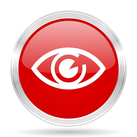 eye red: eye red glossy circle modern web icon on white background