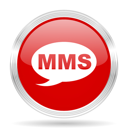mms icon: mms red glossy circle modern web icon on white background