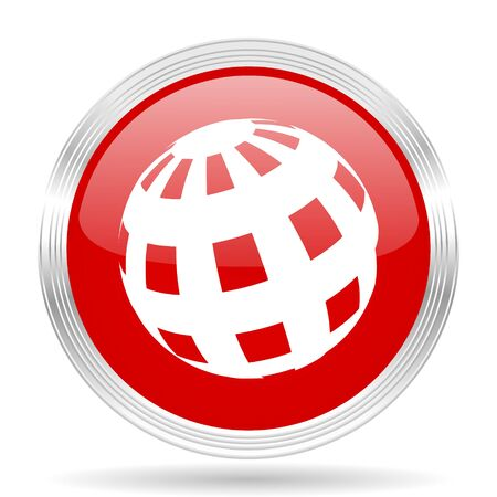 red earth: earth red glossy circle modern web icon on white background
