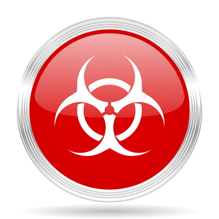 bacterioa: biohazard red glossy circle modern web icon on white background