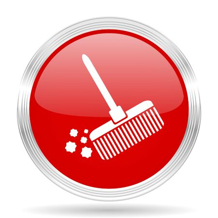 red button: broom red glossy circle modern web icon on white background Stock Photo