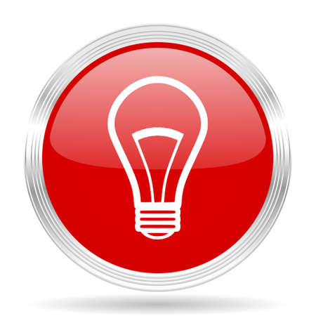 lighting button: bulb red glossy circle modern web icon on white background