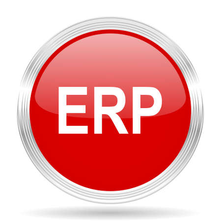 erp: erp red glossy circle modern web icon on white background Stock Photo