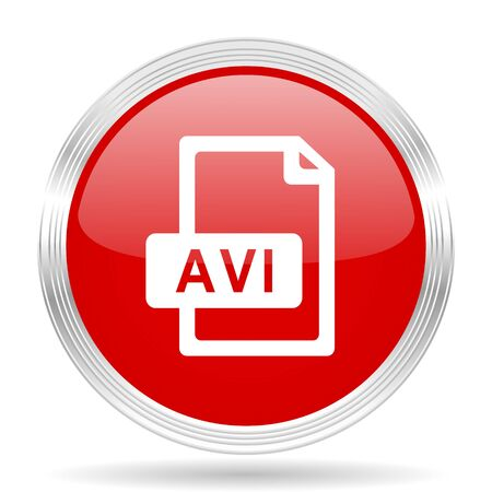 avi: avi file red glossy circle modern web icon on white background