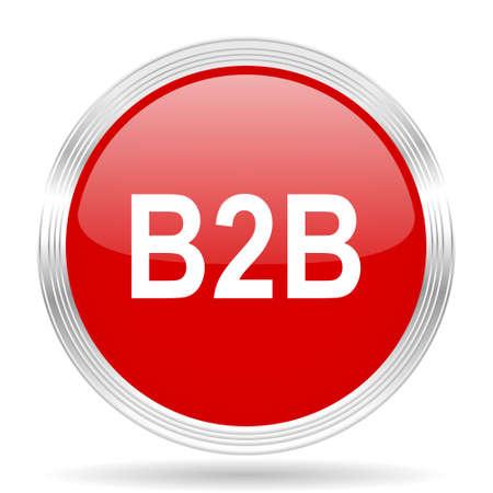 b2b: b2b círculo rojo brillante del icono de web moderno en el fondo blanco Foto de archivo