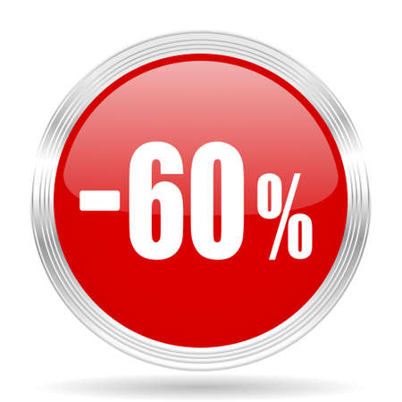 60: 60 percent sale retail red glossy circle modern web icon on white background Stock Photo