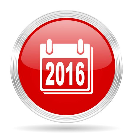 agenda year planner: new year 2016 red glossy circle modern web icon on white background