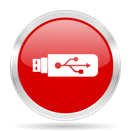 usb pendrive: usb red glossy circle modern web icon on white background