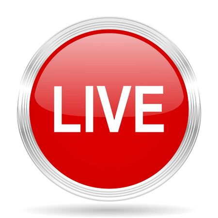 live stream movie: live red glossy circle modern web icon on white background Stock Photo