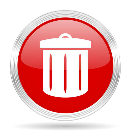 round button: recycle red glossy circle modern web icon on white background