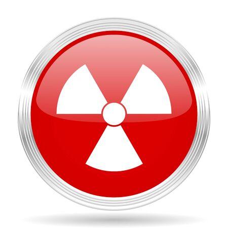 gamma radiation: radiation red glossy circle modern web icon on white background