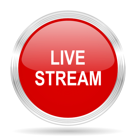 live stream radio: live stream red glossy circle modern web icon on white background