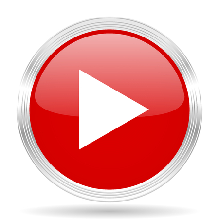 icon buttons: play red glossy circle modern web icon on white background
