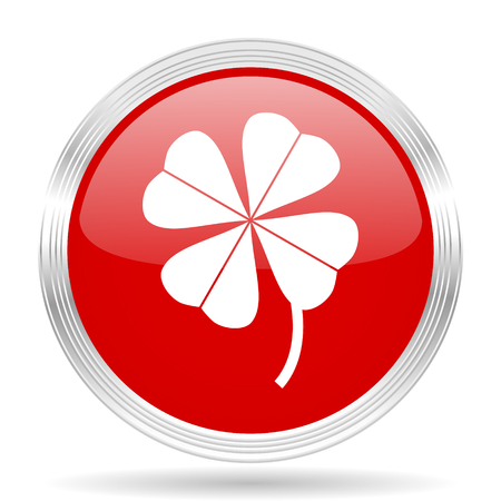 red clover: four-leaf clover red glossy circle modern web icon on white background