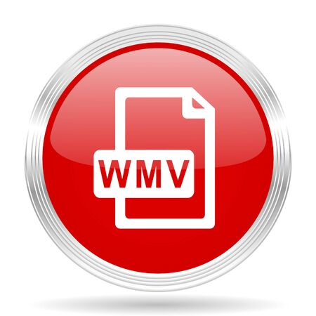 wmv: wmv file red glossy circle modern web icon on white background
