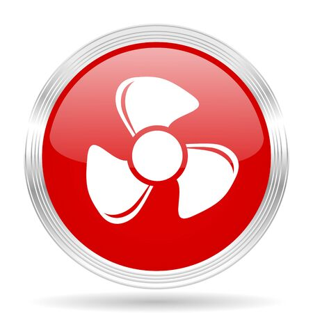 red fan: fan red glossy circle modern web icon on white background