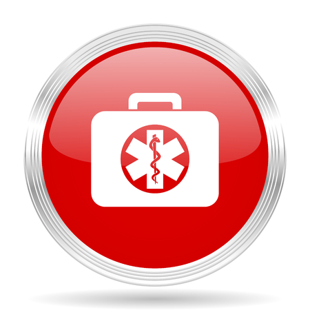 rescue circle: rescue kit red glossy circle modern web icon on white background Stock Photo