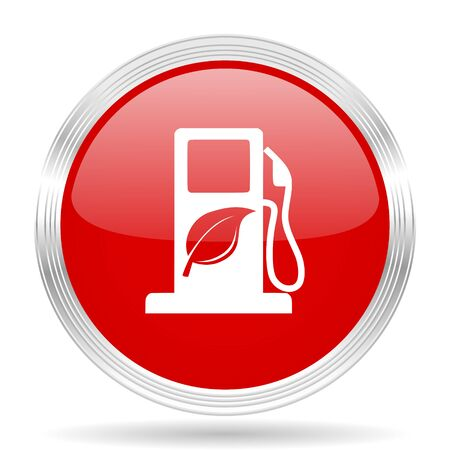 biofuel: biofuel red glossy circle modern web icon on white background