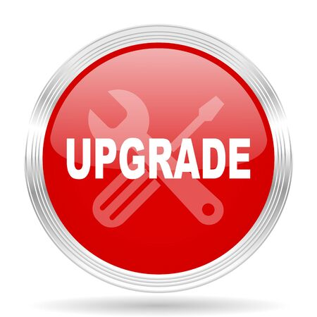 upgrade: upgrade red glossy circle modern web icon on white background