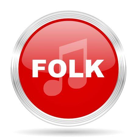 folk music: folk music red glossy circle modern web icon on white background Stock Photo