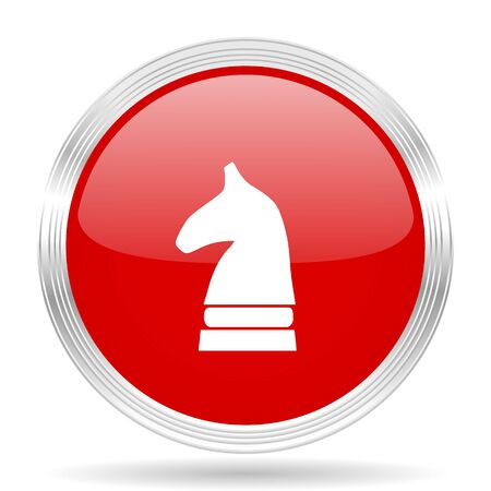 chess horse: chess horse red glossy circle modern web icon on white background