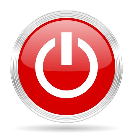 run off: power red glossy circle modern web icon on white background Stock Photo