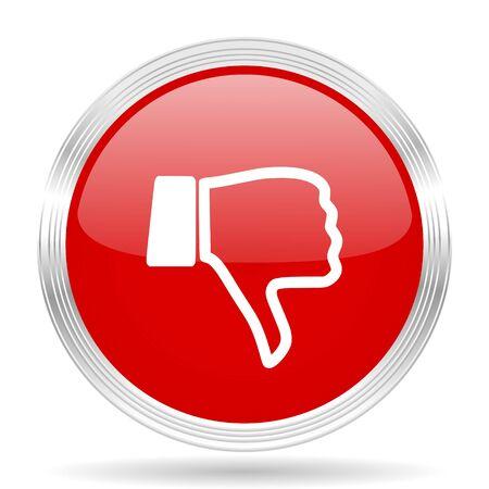 dislike red glossy circle modern web icon on white background