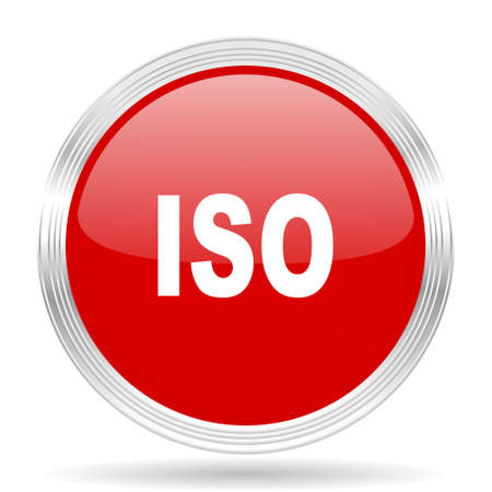 norm: iso red glossy circle modern web icon on white background