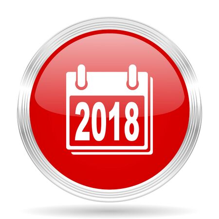 scheduler: new year 2018 red glossy circle modern web icon on white background Stock Photo