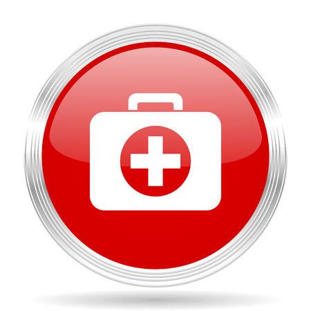 button icons: first aid red glossy circle modern web icon on white background