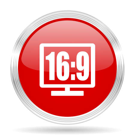 16 9 display: 16 9 display red glossy circle modern web icon on white background