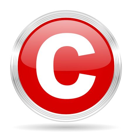red button: copyright red glossy circle modern web icon on white background