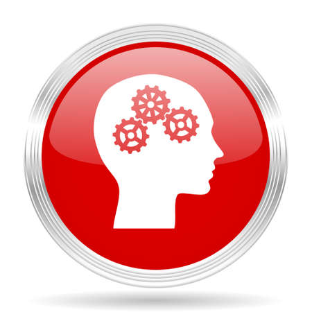 brainy: head red glossy circle modern web icon on white background