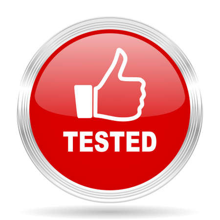 tested: tested red glossy circle modern web icon on white background