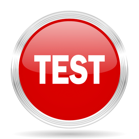 test probe: test red glossy circle modern web icon on white background