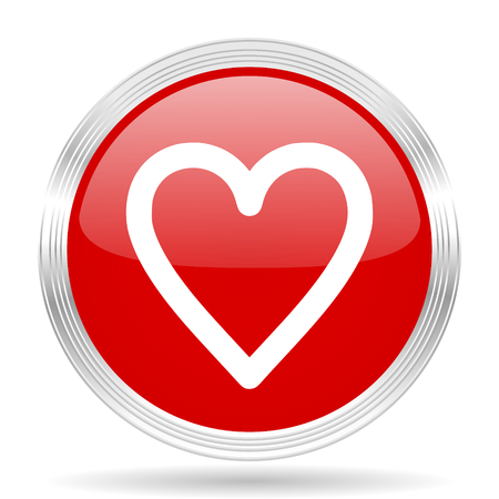 internet dating: heart red glossy circle modern web icon on white background Stock Photo