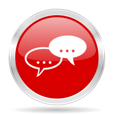 contacting: forum red glossy circle modern web icon on white background