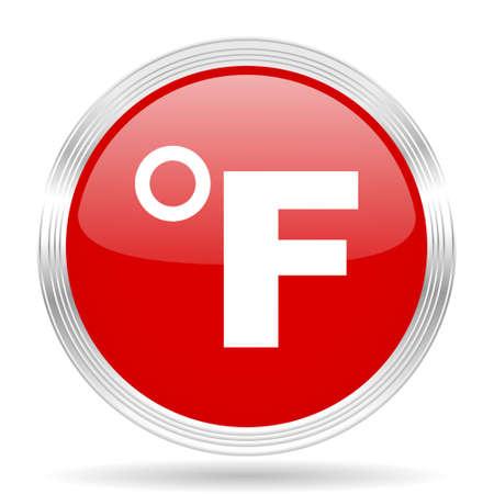 fahrenheit: fahrenheit red glossy circle modern web icon on white background
