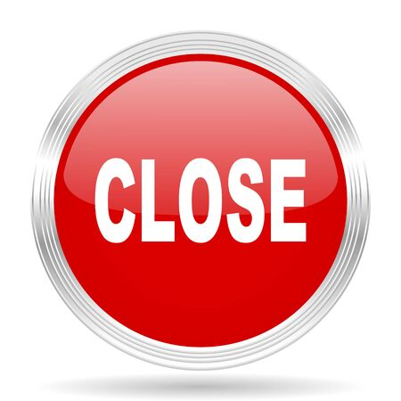 closure: close red glossy circle modern web icon on white background
