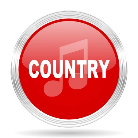 genre: music country red glossy circle modern web icon on white background