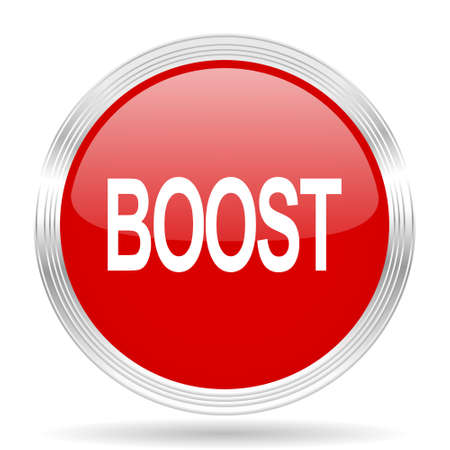 boost: boost red glossy circle modern web icon on white background Stock Photo