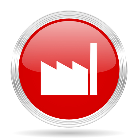 industry design: factory red glossy circle modern web icon on white background